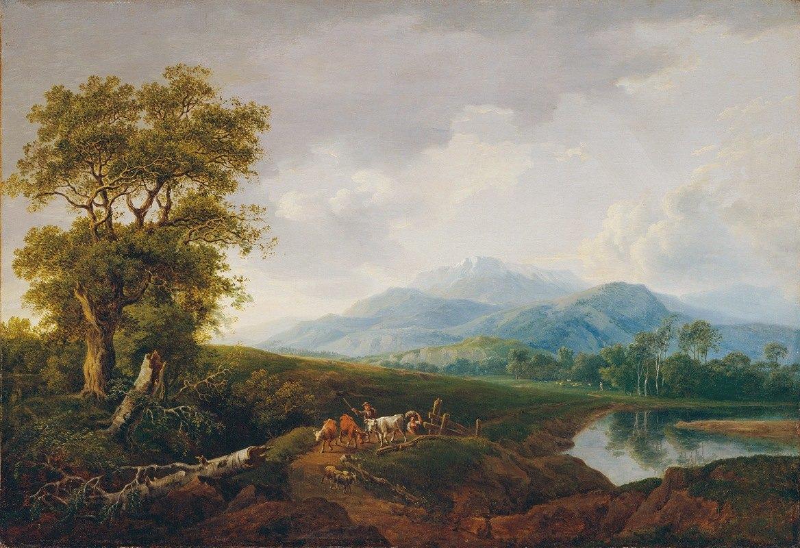 Franz Scheyerer - Landschaft mit Schneeberg