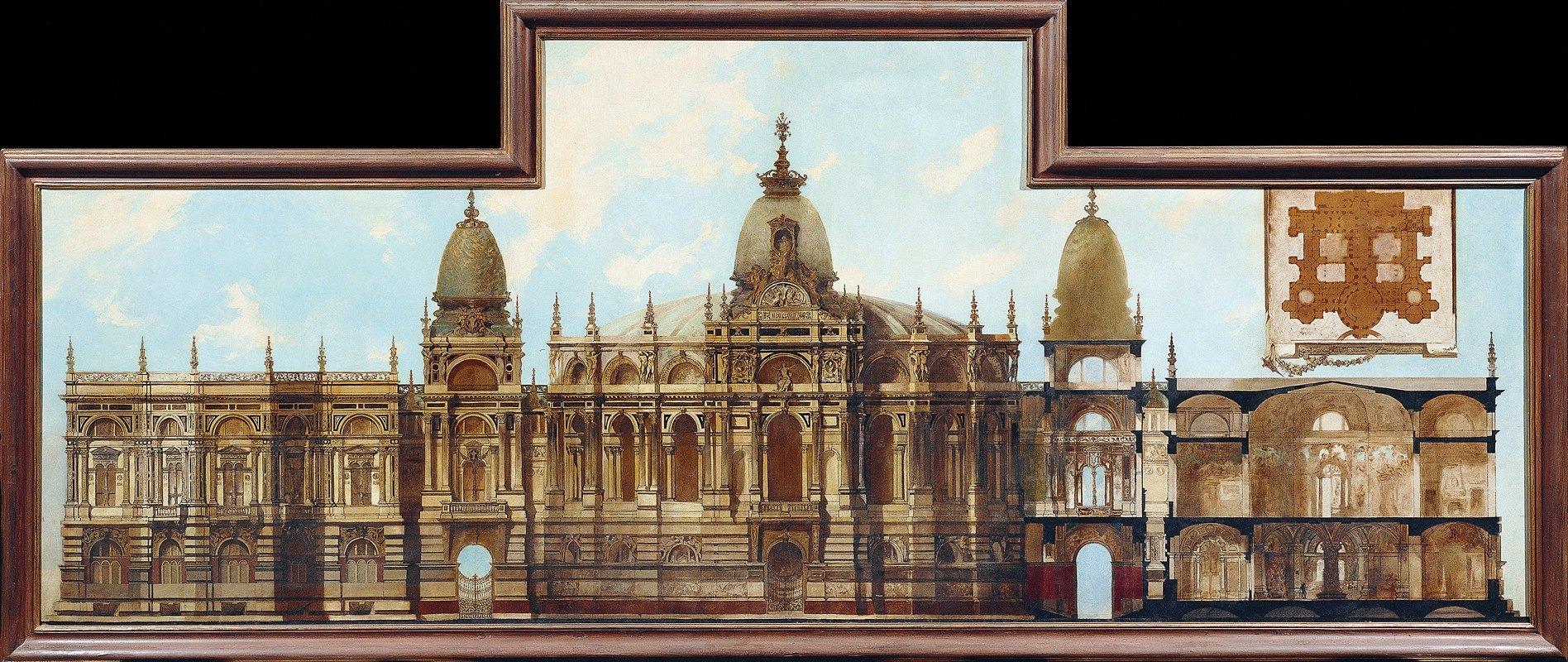 Hans Makart - Entwurf für einen Palast; Rückseite und Grundriss
