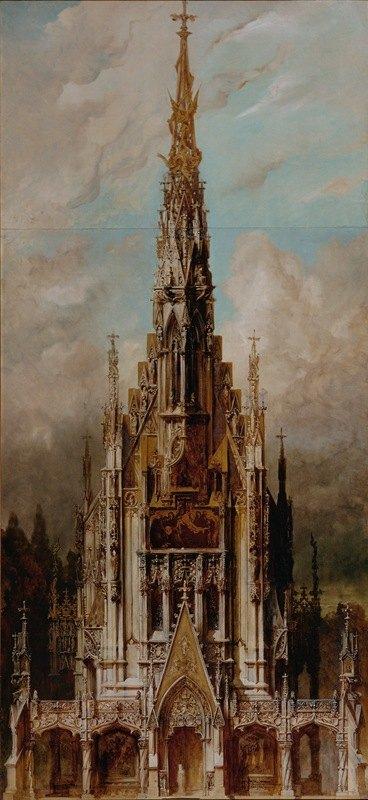 Hans Makart - Gotische Grabkirche St. Michael, Turmfassade