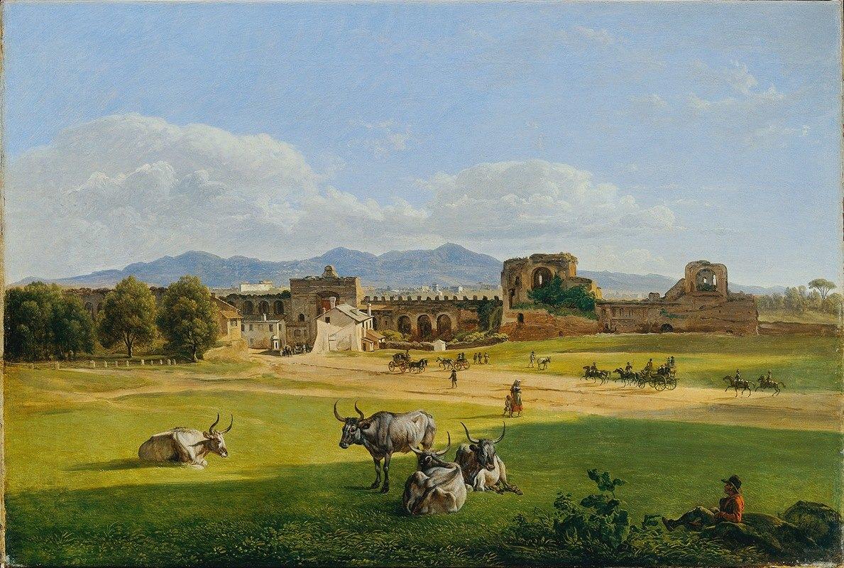 Joseph Rebell - Die Porta San Giovanni gegen Frascati Campagna-Landschaft