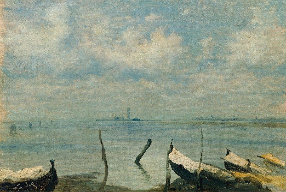 Leopold Carl Müller - Blick von Mestre auf Venedig (Lagunenlandschaft)