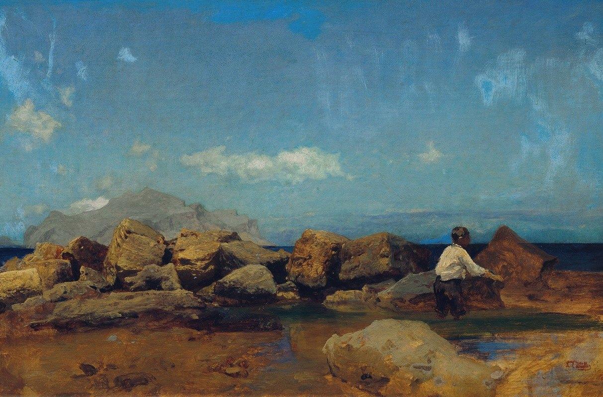 Leopold Carl Müller - Meeresküste mit Monte Pellegrino bei Palermo