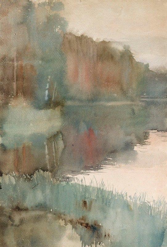 Albert Edelfelt - Seashore at Haikko in Autumn ; Landscape. Autumn