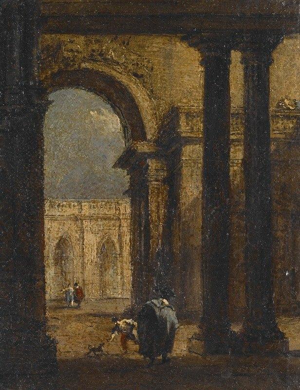 Francesco Guardi - Capriccio; A Palace Courtyard