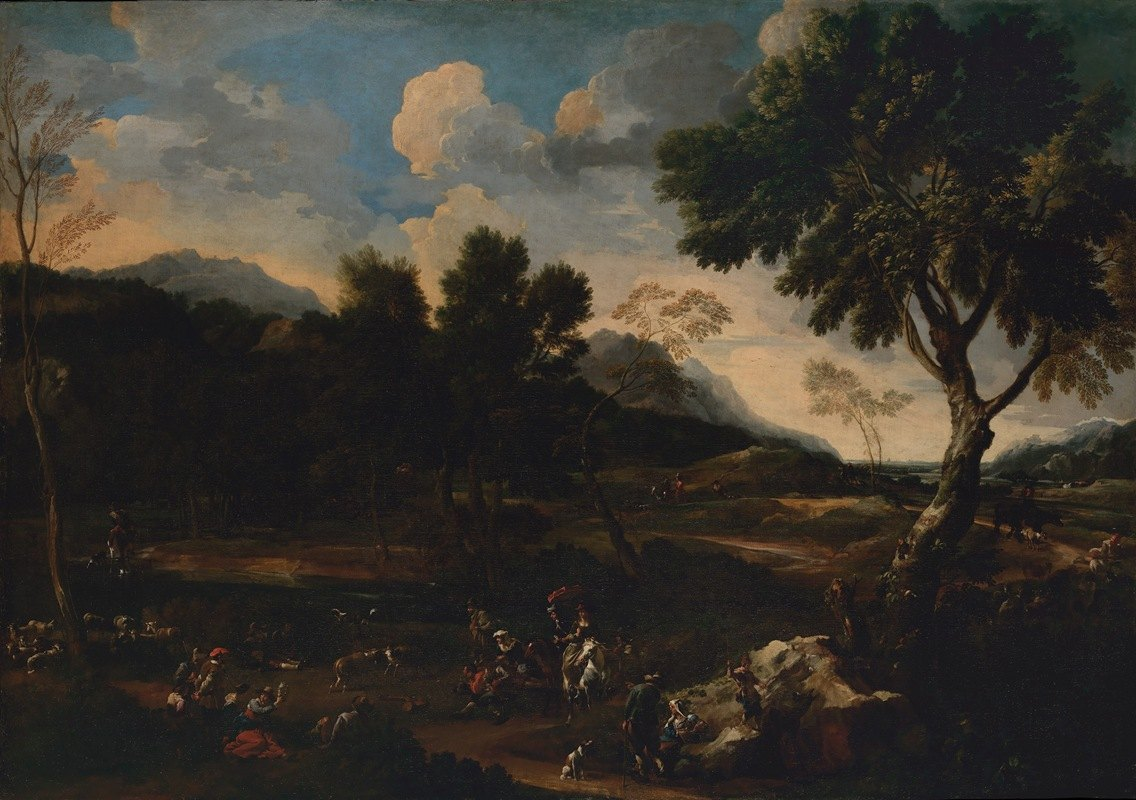 Jan Miel - Landscape with a Battle between Two Rams