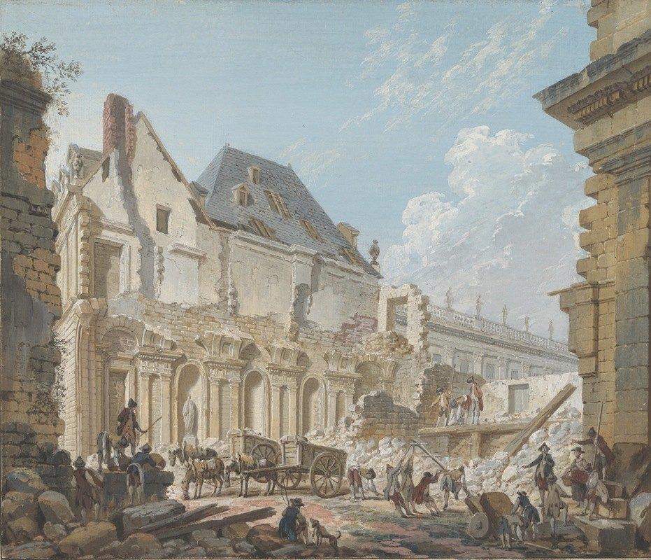 Pierre-Antoine Demachy - Demolition of the Old Vestibule of the Palais-Royal, Paris