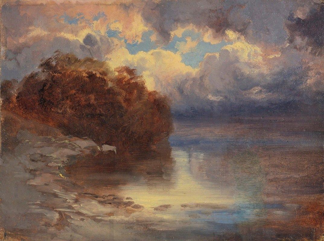 Alexandre Calame - Bord De Lac Et Massif D'arbres