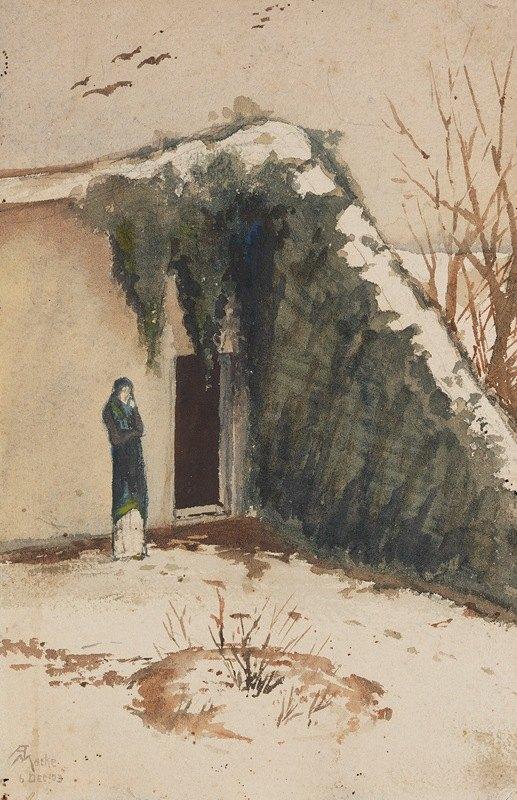 August Macke - Frau im Innenhof