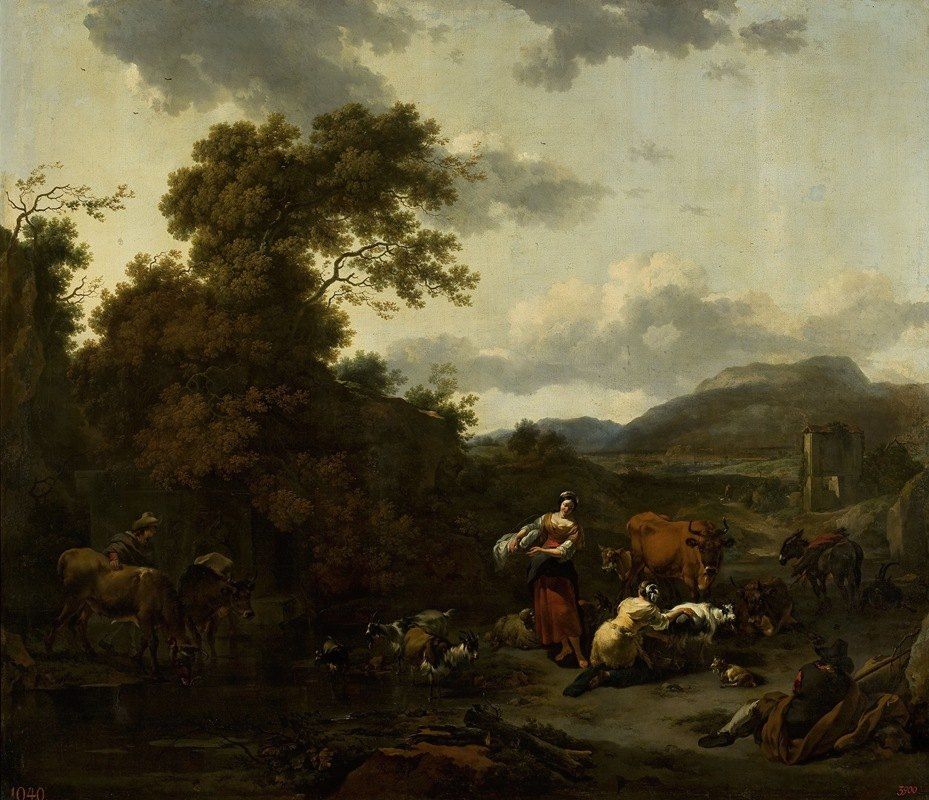Nicolaes Pietersz. Berchem - Landscape with a pastoral scene