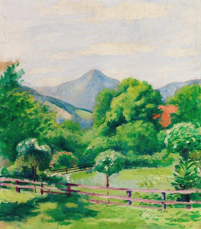 August Macke - Garten in Tegernsee mit Haus und Berg