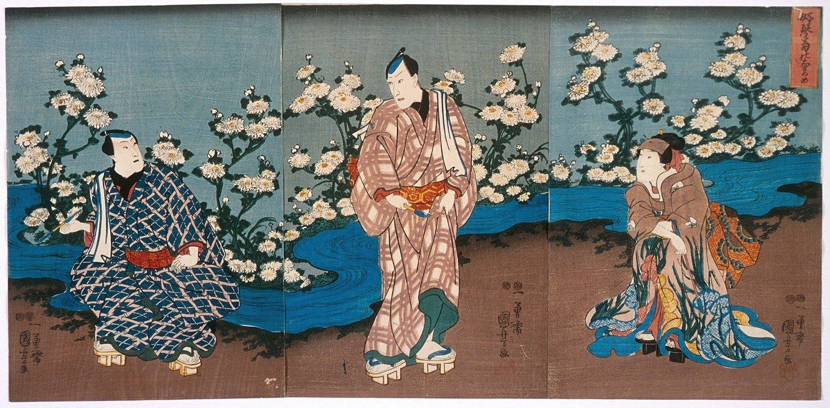 Utagawa Kuniyoshi - The Actor Onoe Kikugorō III Viewing Chrysanthemums and Stream