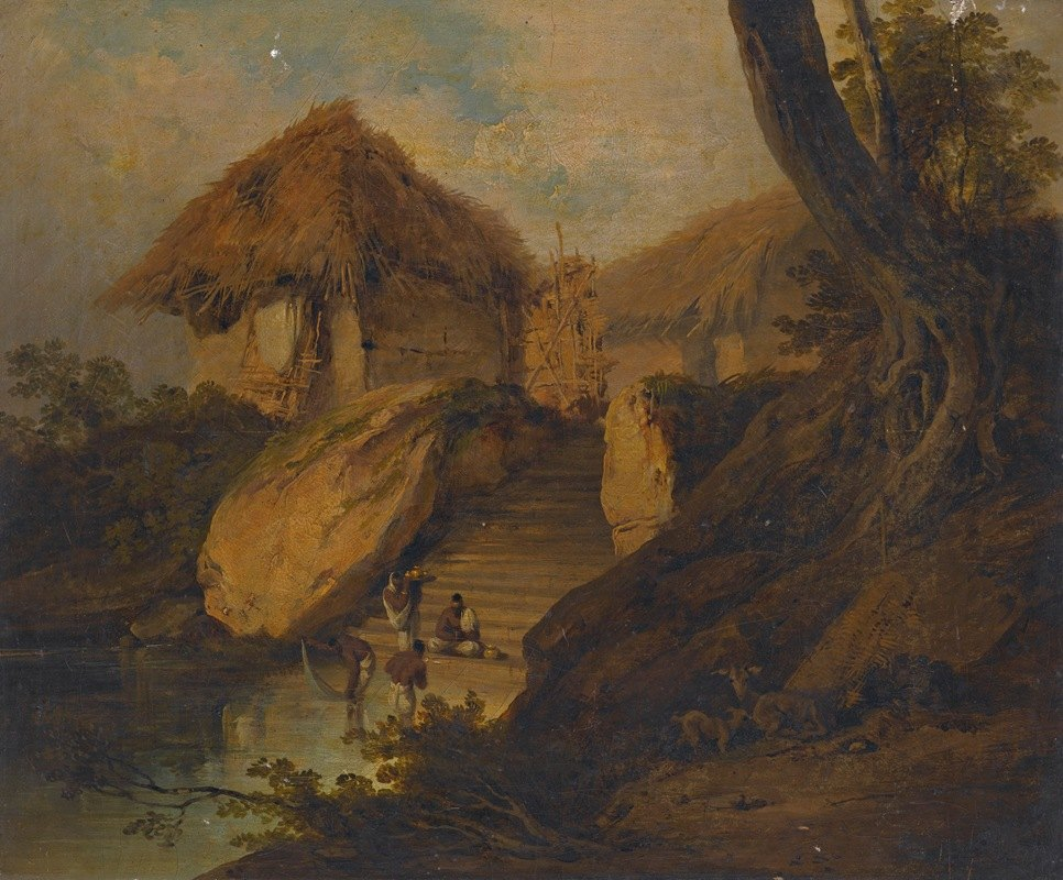 George Chinnery - Figures Washing In A River With Thatched Huts Behind, Bengal, India