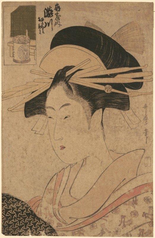 Kitagawa Utamaro - Portrait of Beauty, Takigawa at Ôgi-ya