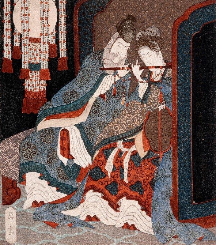 Yashima Gakutei - Emperor Ming Huang and Yang Guifei Playing a Flute Together