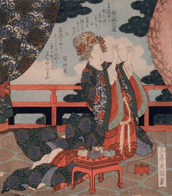 Yashima Gakutei - Representing the Tanabata Festival; Weaver Princess Threading a Needle