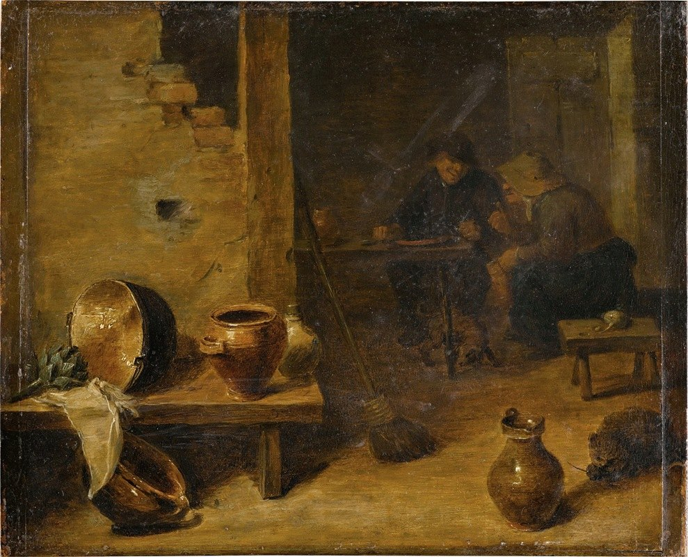 Circle of David Teniers the Younger - Tavern interior with peasants eating in the background