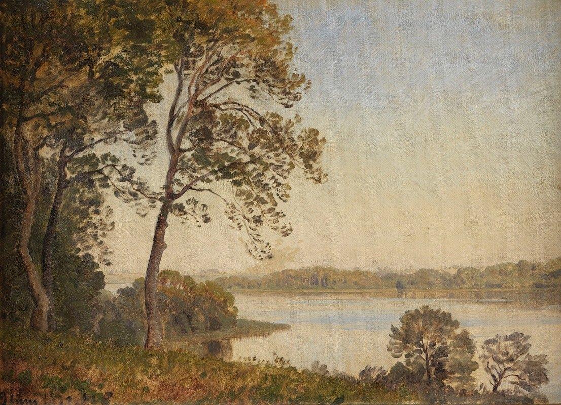 Janus la Cour - Dänische Landschaft mit Blick über einen Fjord