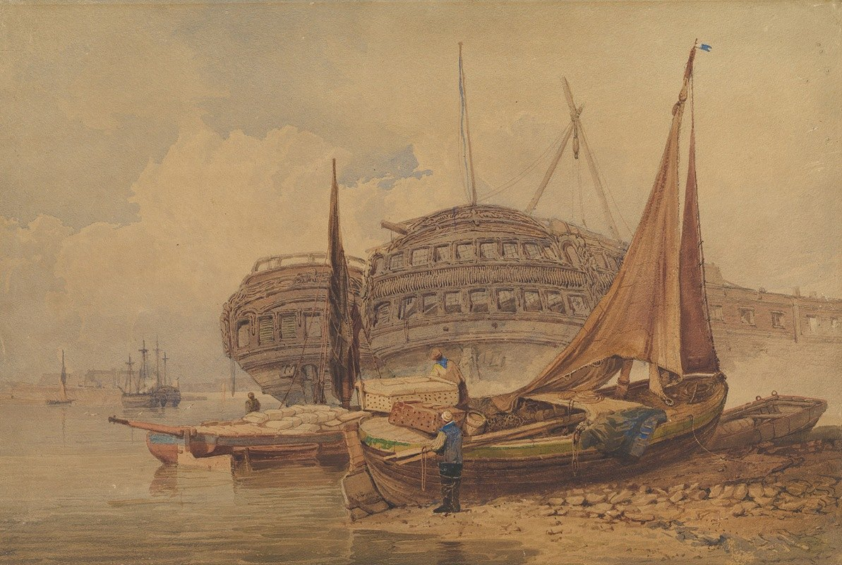Samuel Prout - Coastal Scene with Beached Boats in Foreground