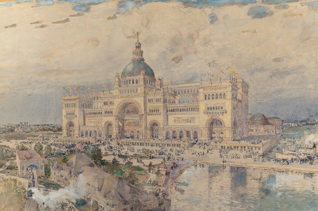 Childe Hassam - The MacKaye Spectatorium with Iowa Pavillion in Foreground, Columbian Exposition