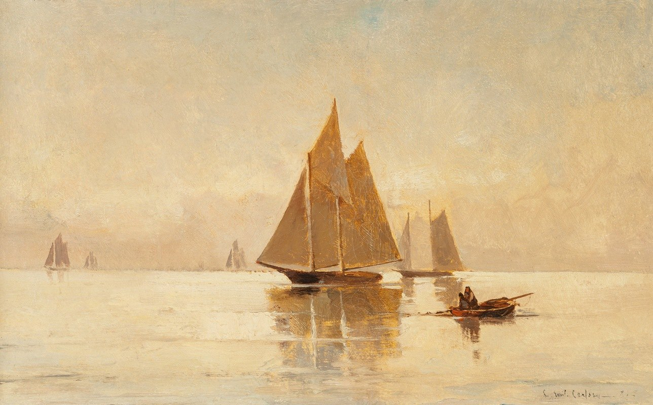 Emil Carlsen - Sailboats in the Evening