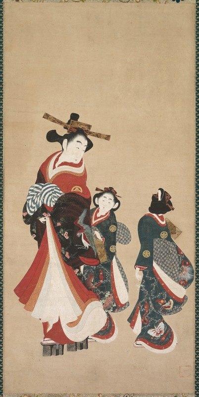 Engetsudō - Courtesan and Attendants