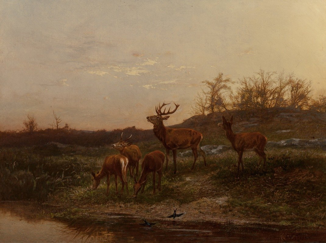 Karl Bodmer - At the Watering Hole
