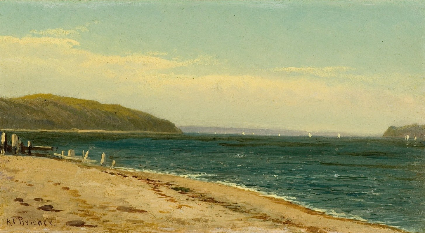 Alfred Thompson Bricher - Beach and Bay with Sailboats