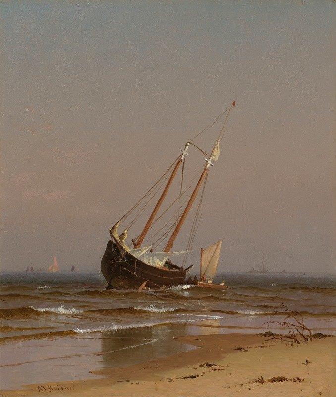 Alfred Thompson Bricher - Seascape, Beached Boat (Ashore on Salisbury Beach)