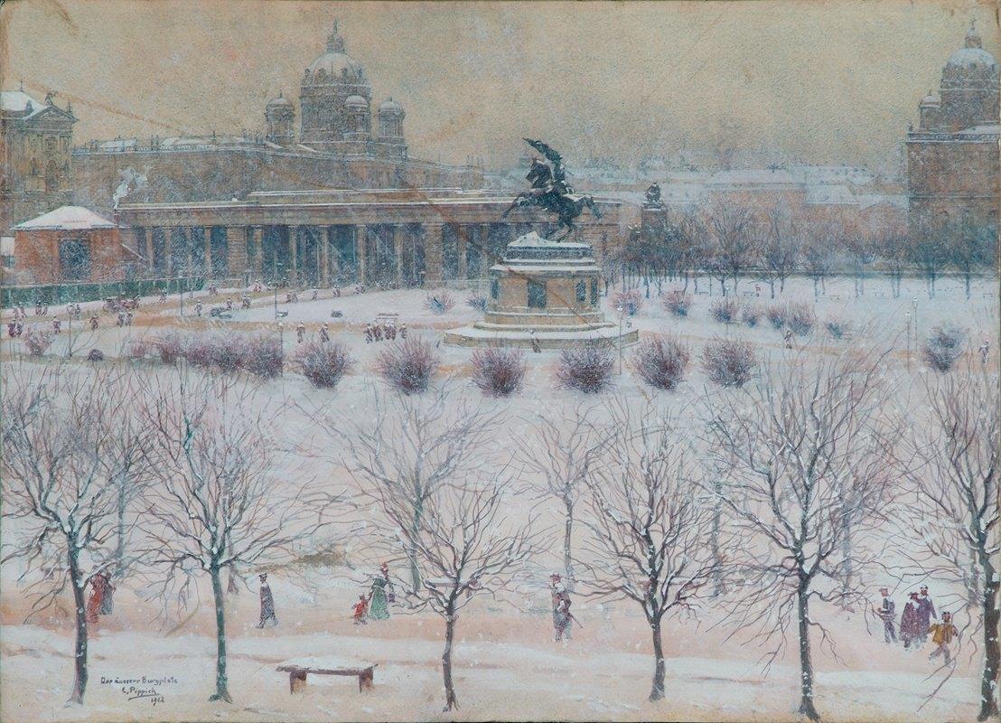 Carl Pippich - Der äußere Burgplatz in Wien im Winter