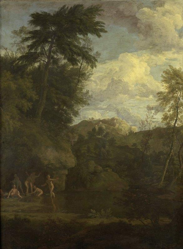 Johannes Glauber - Arcadian Landscape with Diana Bathing