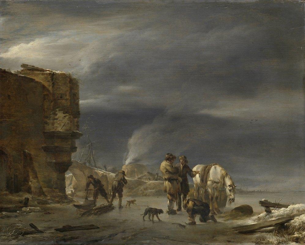 Nicolaes Pietersz. Berchem - On the Ice near a Town