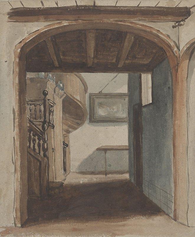 Jan Fabius Czn - Interieur met doorkijk naar trap