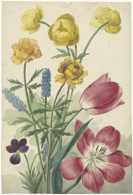 Willem van Leen - Boeket van tulpen, viooltjes, blauwe druifjes en dotters