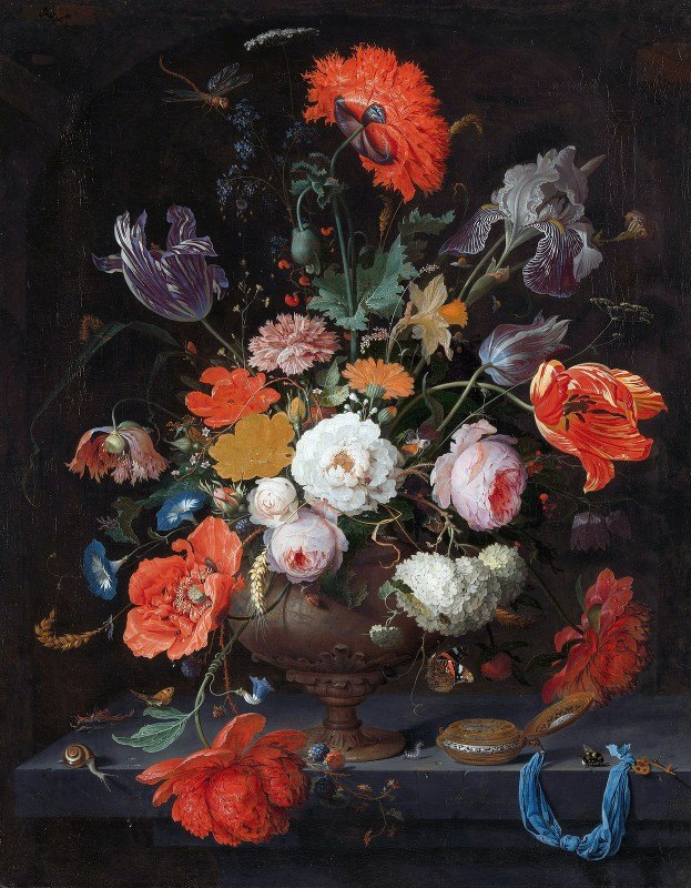 Abraham Mignon - Still Life with Flowers and a Watch