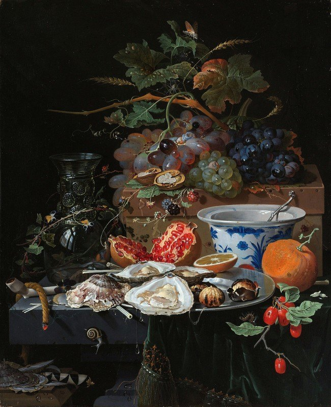 Abraham Mignon - Still Life with Fruit, Oysters, and a Porcelain Bowl