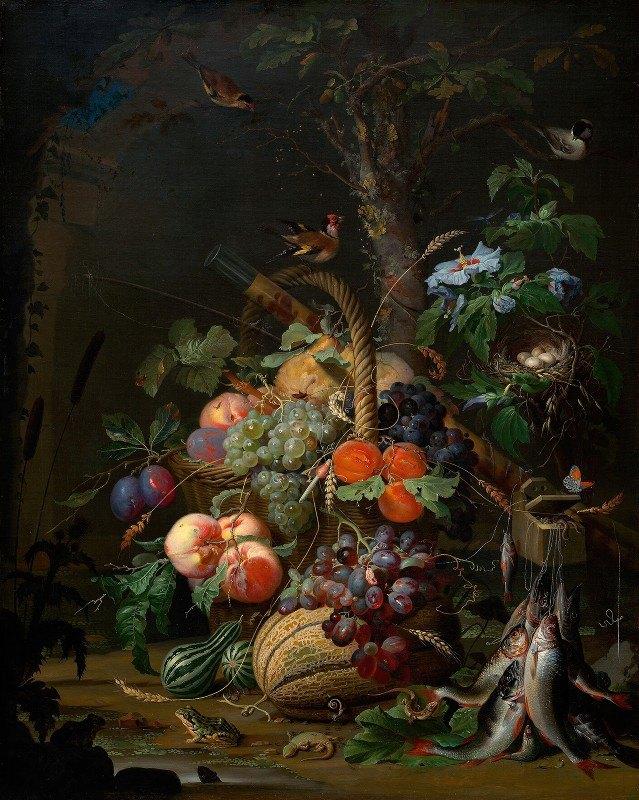 Abraham Mignon - Stillleben mit Früchten,Fischen und Vogelnest