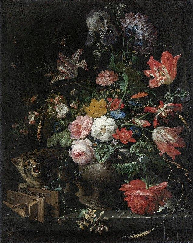 Abraham Mignon - The Overturned Bouquet