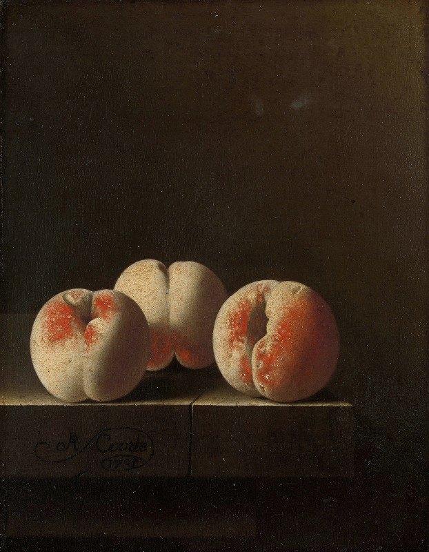 Adriaen Coorte - Three Peaches on a Stone Plinth