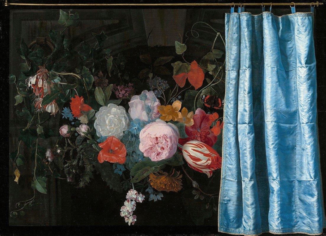 Adriaen van der Spelt - Trompe-l'Oeil Still Life with a Flower Garland and a Curtain