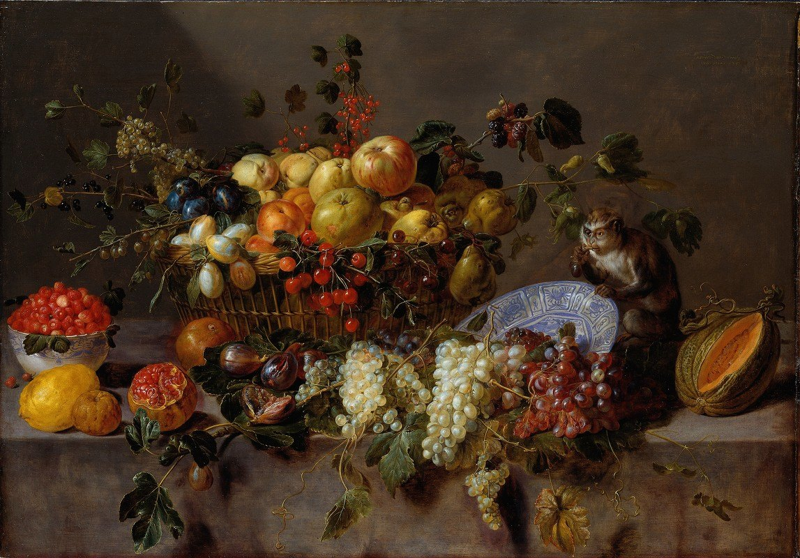 Adriaen van Utrecht - Still Life with Fruit and a Monkey eating Grapes