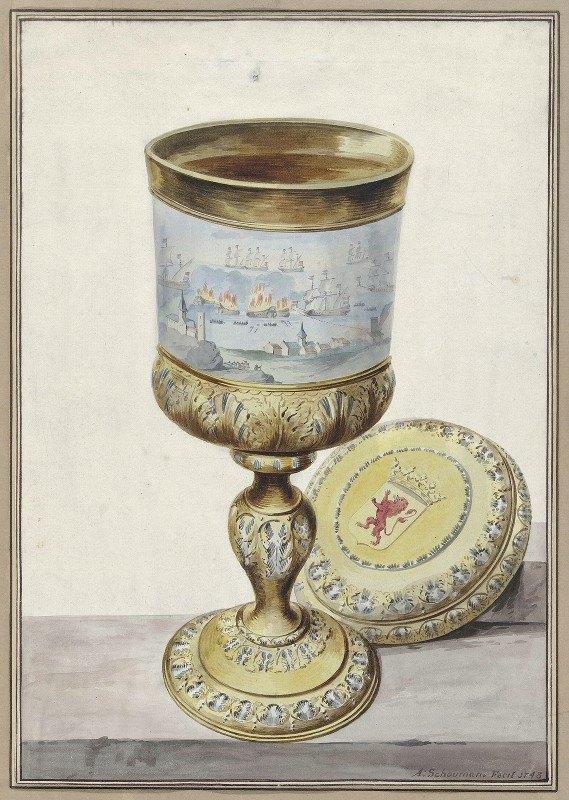 Aert Schouman - Golden cup with lid