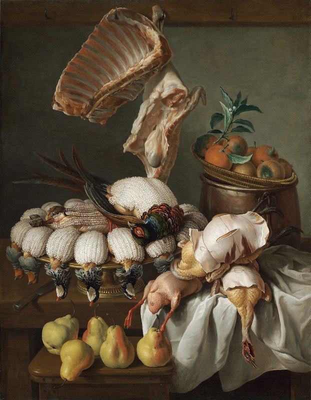 Alexandre François Desportes - Still Life with Dressed Game,Meat and Fruit
