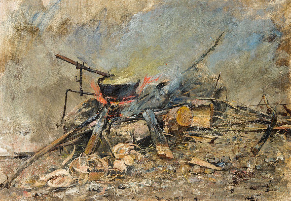 Carl Gustaf Hellqvist - A Fire with a Kettle. Study for Sancta Simplicitas