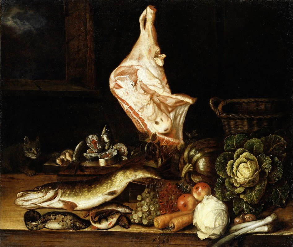 Christian von Thum - Still Life with a Joint of Veal, Greens and Fish