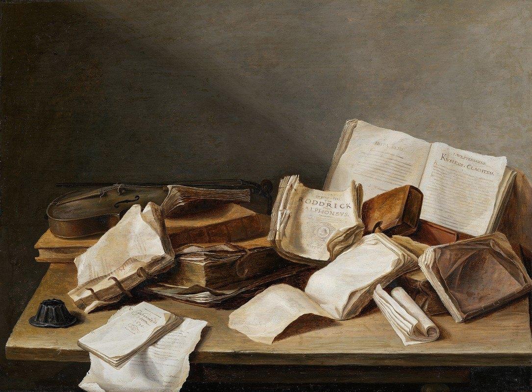 Jan Davidsz de Heem - Still Life with Books and a Violin