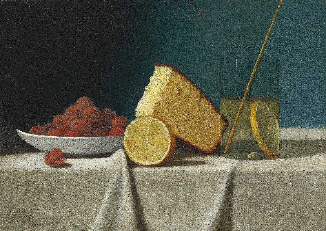 John Frederick Peto - Still Life with Cake,Lemon Strawberries and Glass