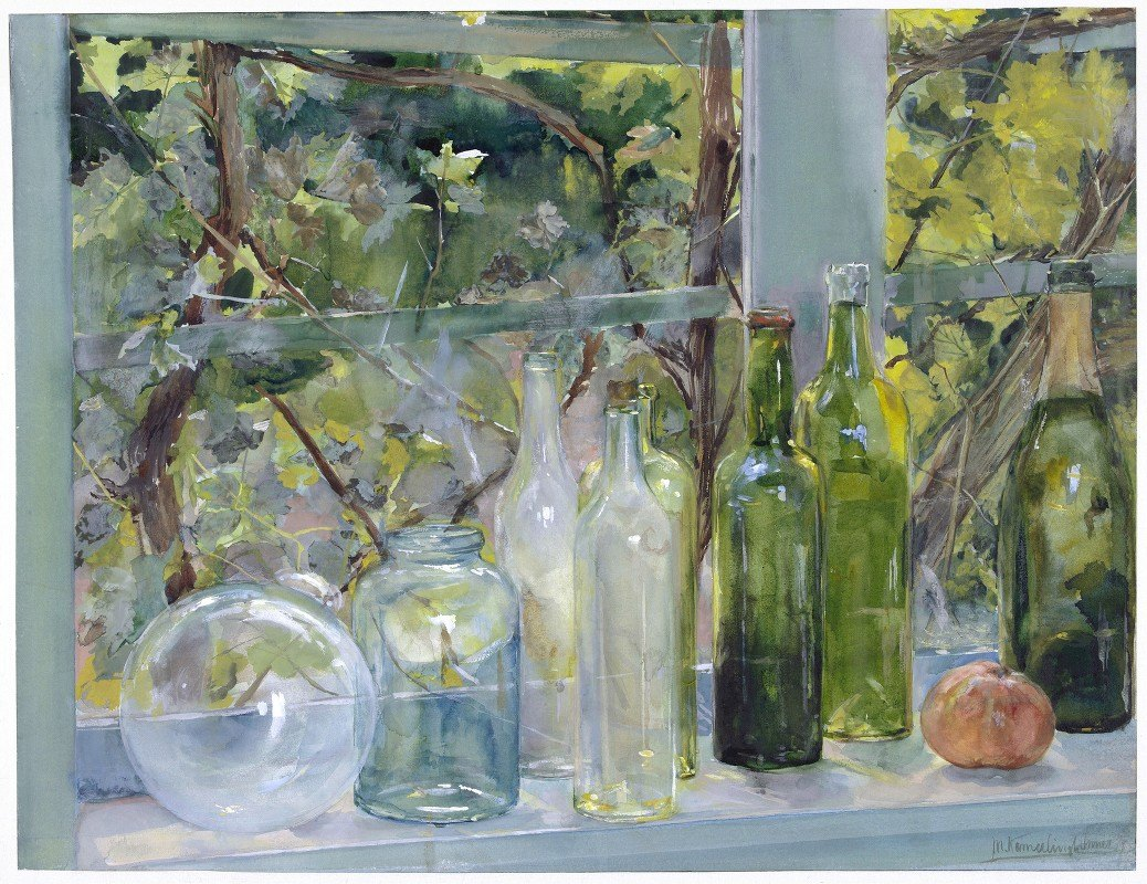 Menso Kamerlingh Onnes - Windowsill with Bottles, a Glass Globe and an Apple