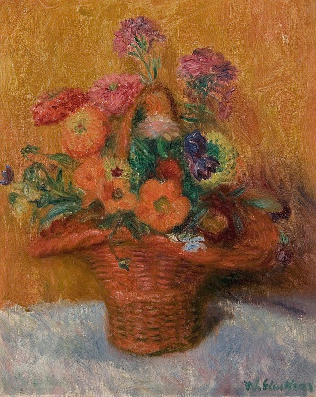 William James Glackens - Red Basket of Zinnias