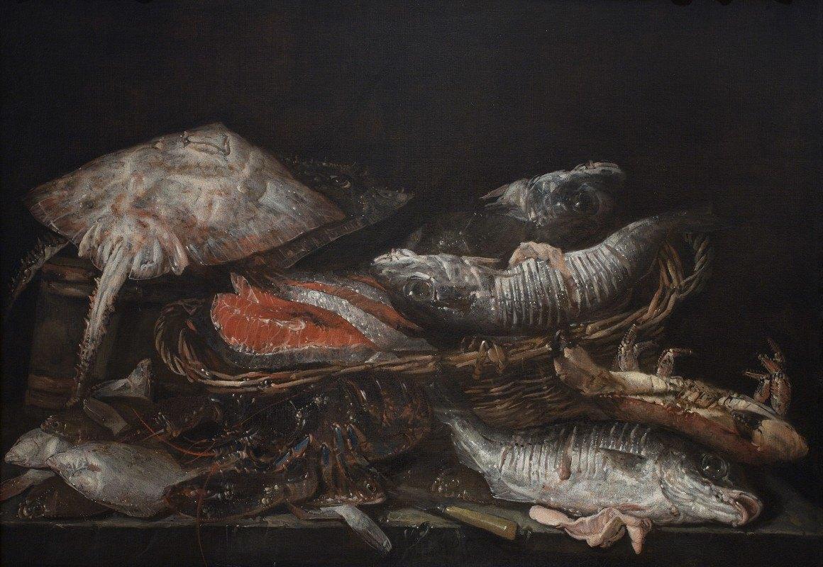 Abraham van Beyeren - Still Life With Fish On A Stone Table