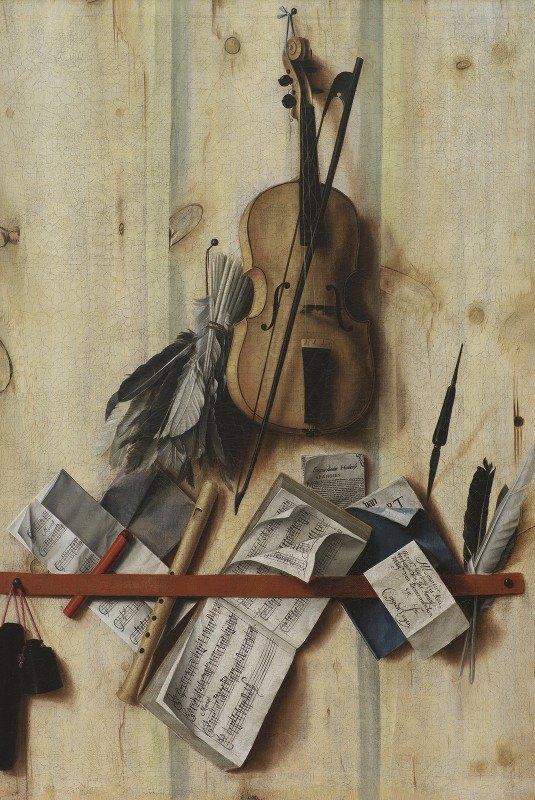 Cornelius Norbertus Gijsbrechts - Trompe L'oeil With Violin, Music Book And Recorder